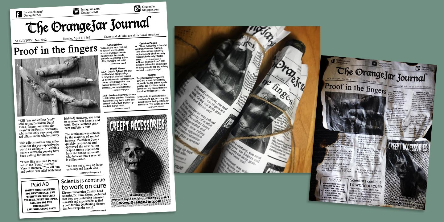 Wrote and designed a one-page post zombie apocalypse periodical for OrangeJar products